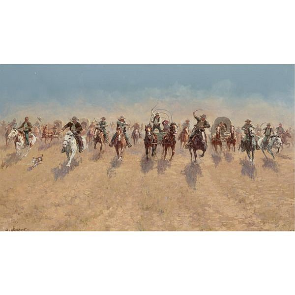 Olaf Wieghorst 1899-1988 , Opening of the Cherokee Strip oil on canvas