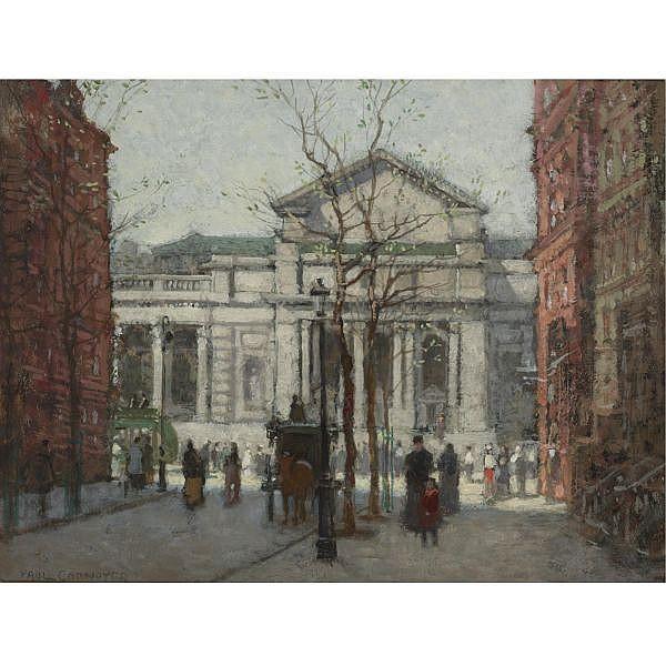 Paul Cornoyer 1864-1923 , The New York Public Library oil on board