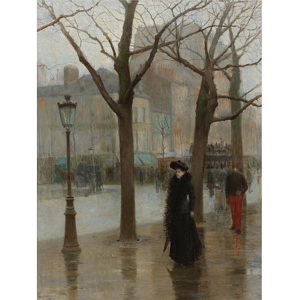 Paul Cornoyer 1864-1923 , Paris Street in Winter oil on canvas