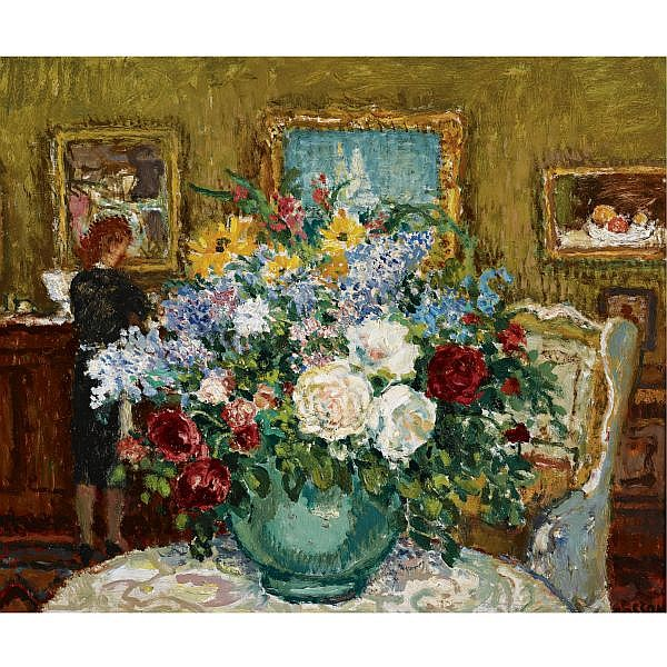 Jean-Louis-Marcel Cosson 1878-1956 , Interior with flowers oil on masonite