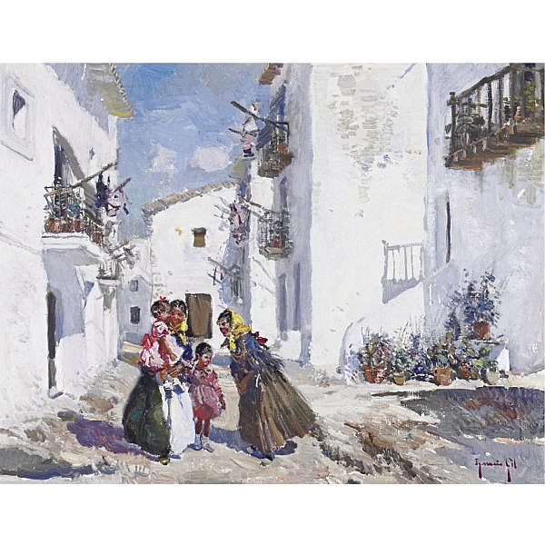 Ignacio Gil y Sala 1913-1990 , Saying Hello oil on canvas