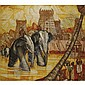 André Maire 1898-1984 , Elephants in front of Hindu Temples oil over pastel and charcoal on canvas   , André Maire, Click for value