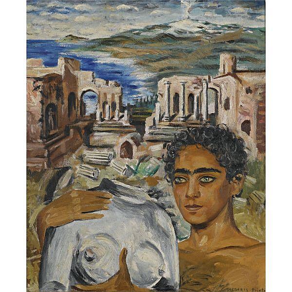 Gregorio Prieto 1897-1992 , Greek Boy oil on canvas