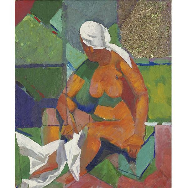 Alfred Reth 1884-1966 , Seated Nude with Turban oil and sand on panel