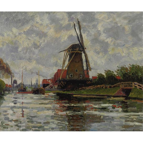 Ludovic Rodo Pissarro 1878-1952 , Moulin au bord de l'eau oil on canvas