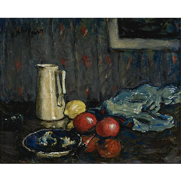 Piotr Alexandrovitch Nilouss 1869-1943 , Nature morte bleue au pot blanc oil on canvas