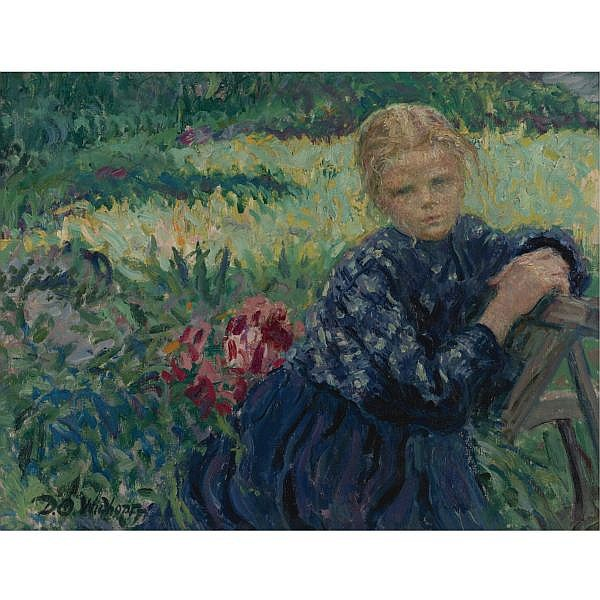 David Osipovich Widhopff 1867-1933 , Girl seated in a garden oil on canvas