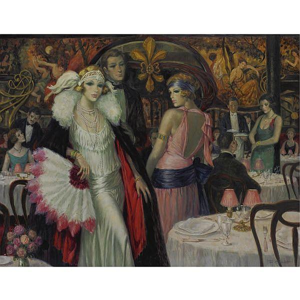 François Batet b. 1923 , Soirée chez Maxim's oil on canvas