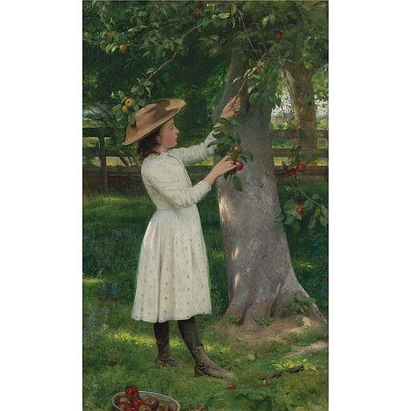 - Seymour Joseph Guy 1824-1910 , The Pick of the Orchard (Picking Apples)   oil on board