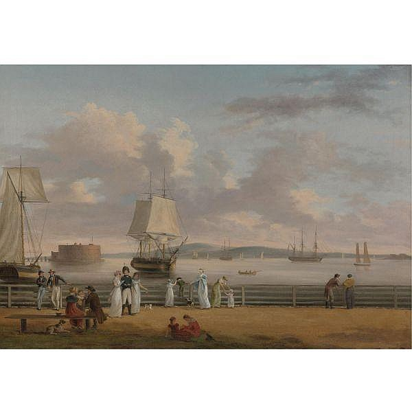 Thomas Birch 1779-1851 , The Battery and Harbor, New York oil on canvas