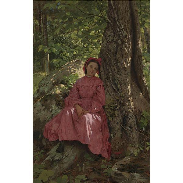 - John George Brown 1831-1913 , Resting in the Woods (Girl Under a Tree) oil on canvas