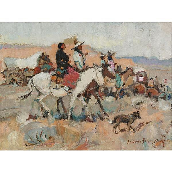 LaVerne Nelson Black 1887-1938 , Indian Wagon Train oil on canvas