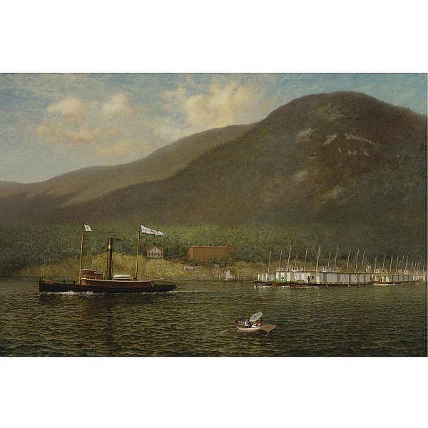 - James Gale Tyler 1855-1931 , Tug A.C. Cheney Towing Barges Past Bear Mountain oil on canvas