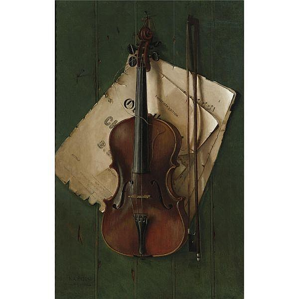 - Nicholas Alden Brooks 1840-1904 , Still Life with Violin, Bow and Sheet Music oil on canvas