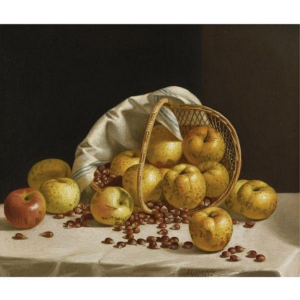 - John F. Francis 1808-1886 , Still Life: Yellow Apples and Chestnuts Spilling from a Basket oil on canvas