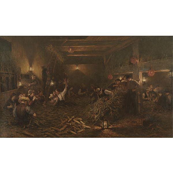 Henry Mosler 1841-1920 , The Husking Bee oil on canvas
