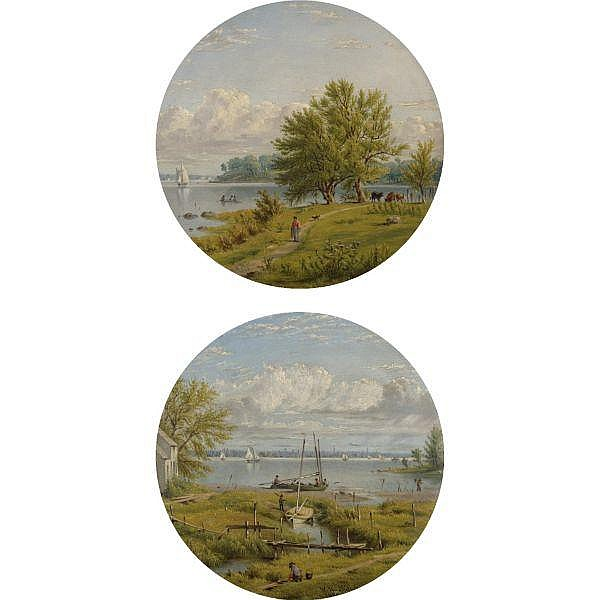 William Rickarby Miller 1818-1893 , View across the Hudson to New York: a pair of paintings each oil on board