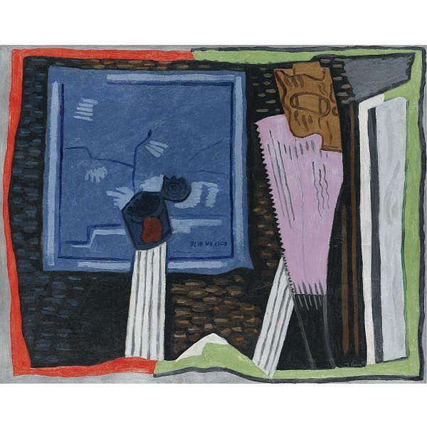 Stuart Davis 1892-1964 , Still Life with Map, New Mexico oil on canvas