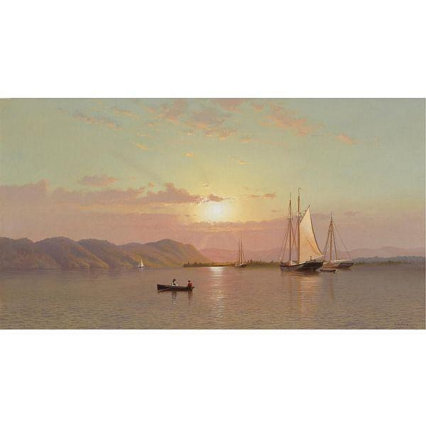 - Francis A. Silva 1835-1886 , Sunrise at Tappan Zee oil on canvas