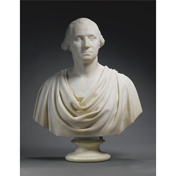 Hiram Powers 1805-1873 , Bust of George Washington white marble
