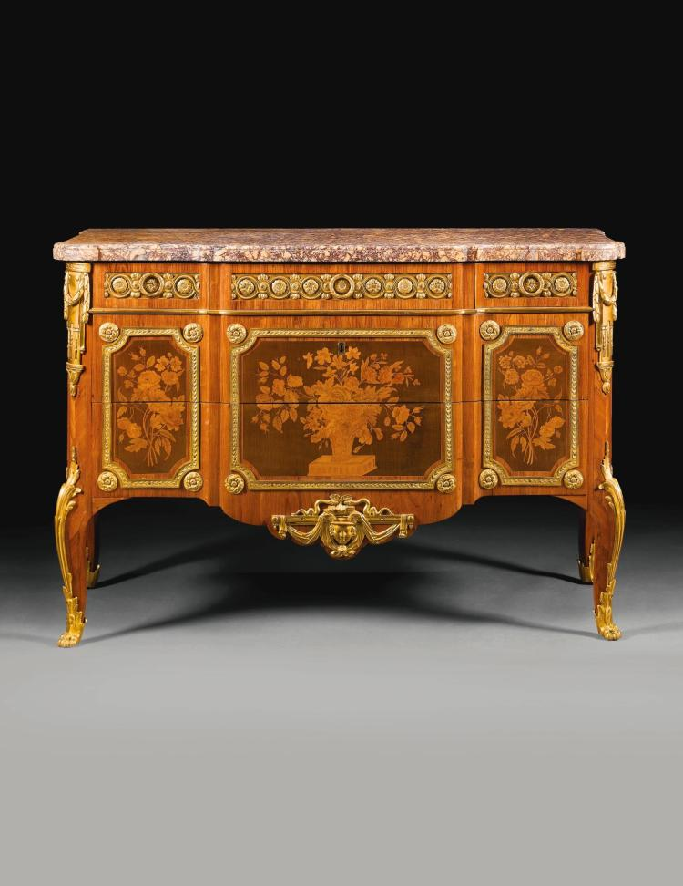 AN IMPORTANT GILT-BRONZE-MOUNTED TULIPWOOD, HAREWOOD, HOLLY, FRUITWOOD AND MARQUETRY COMMODE BY ROGER VANDERCRUSE, KNOWN AS LACROIX (1727-99) LOUIS XV/XVI TRANSITIONAL, CIRCA 1770 |