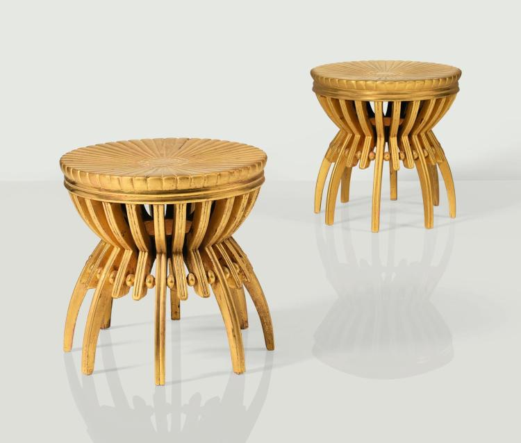 ARMAND-ALBERT RATEAU | Pair of stools, circa 1925