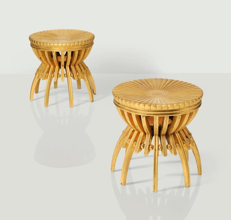 ARMAND-ALBERT RATEAU | Pair of stools, circa 1925