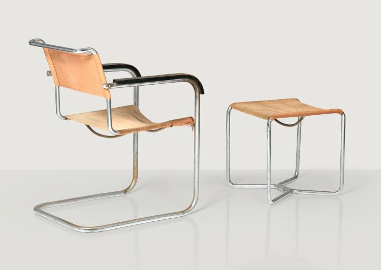 MARCEL BREUER | B34 armchair and B8 ottoman, designed in 1928