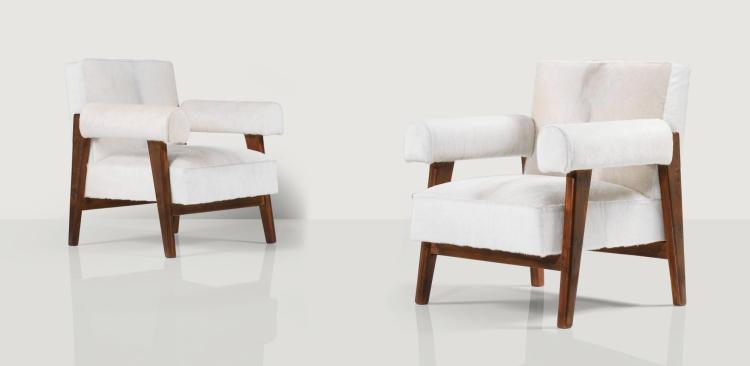 LE CORBUSIER AND PIERRE JEANNERET | Pair of LC/PJ-SI-42-A armchairs, circa 1955