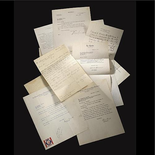 Letters to Alexander Cleland from Lajoie, Speaker, Landis (2), Ford Frick (4), William Earle and More (14 total)