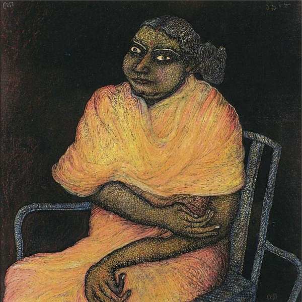 Jogen Chowdhury (b. 1939) , Woman on a chair Ink and pastel on paper