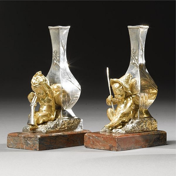 Louis Kley 1833-1911 A PAIR OF GILT AND SILVERED-BRONZE CABINET VASES FRENCH, CIRCA 1890