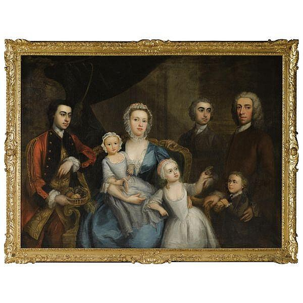 - Charles Phillips , 1708-1747 Portrait of a family in an interior oil on canvas, held in a British Baroque style carved and gilded frame