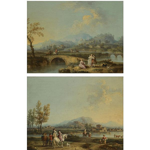 Giovanni Battista Cimaroli , Salò, near Brescia 1687-1771 Venice An italianate landscape with elegant figures on horseback, before a riverside town; An italianate landscape with horsemen crossing a bridge, a lady and a gentleman with their dogs in