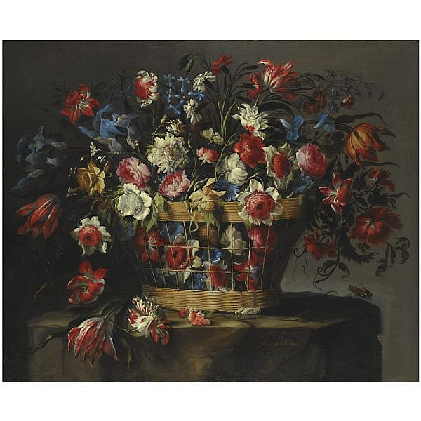 - Juan de Arellano , Santorcaz 1614 - 1676 Madrid a still life with carnations, parrot tulips, roses, iris, daffodils, morning glory and lillies of the valley, all in a basket over a stone ledge with grasshoppers and a butterfly oil on canvas