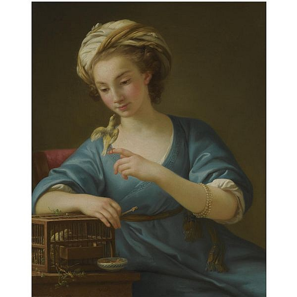 Joseph-Marie Vien , Montpellier 1716 - 1809 Paris A young woman, dressed à la Grecque , holding a canary on her outstretched finger oil on canvas