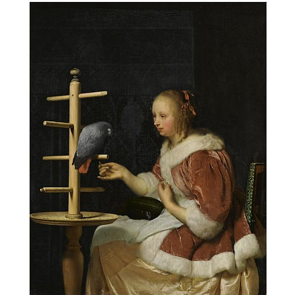 - Frans van Mieris the Elder , Leiden 1635 - 1681 a young woman in a red jacket feeding a parrot oil on oak panel
