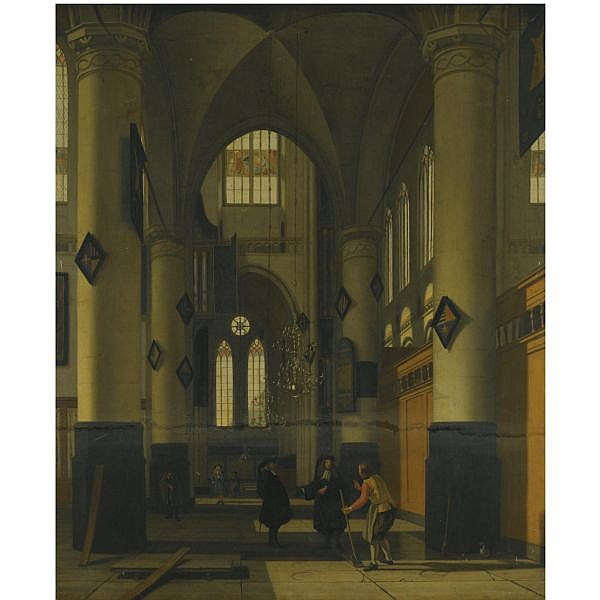 Hendrick Cornelisz. van Vliet , Delft 1611/12 - 1675 the interior of a protestant gothic church, with elements of both the Oude Kerk and Nieuwe Kerk, Amsterdam oil on canvas