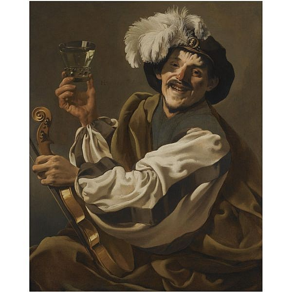 Hendrick Ter Brugghen , Deventer 1588 - 1629 Utrecht a jovial violinist holding a glass of wine oil on canvas