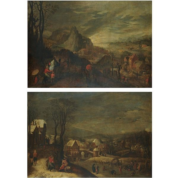 Jacob Grimmer Antwerp 1525/6 - 1590 and Gillis Mostaert Hulst circa 1528/9 - 1598 Antwerp , Spring; Winter a pair, both oil on panel