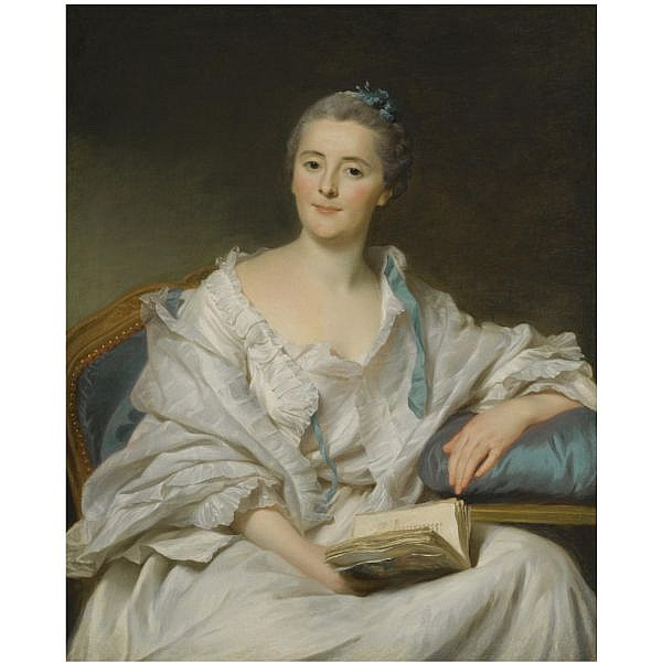 Alexander Roslin , Malmö 1718 - 1793 Paris Portrait of Marie-Françoise Julie Constance Filleul, Marquise de Marigny, seated, holding an open book in her right hand oil on canvas