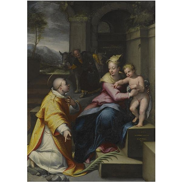 Denys Calvaert , Antwerp circa 1540 - 1619 Bologna the holy family with saint Stephen oil on copper