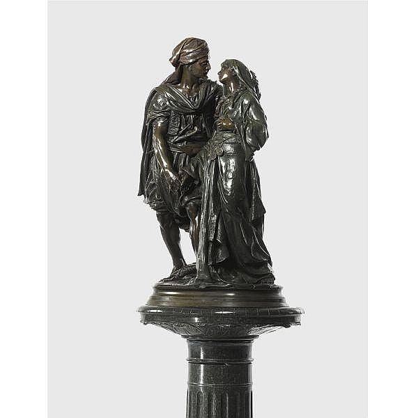 Émile-Edmond Peynot , French 1850 -1932 North African courtesans bronze, dark brown and green patina, with green marble pedestal