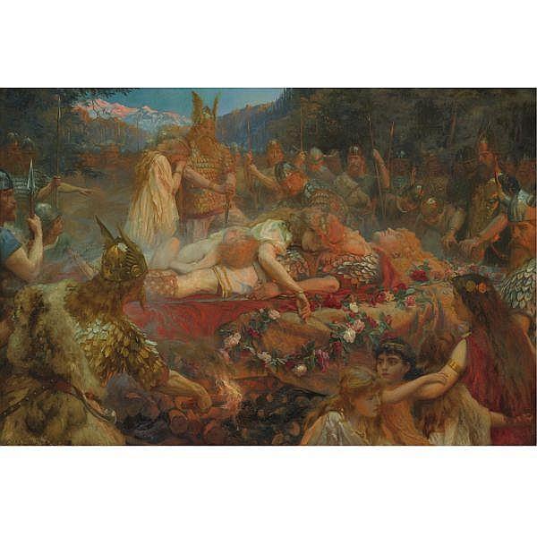 Charles Ernest Butler , British b. 1864 Death of a Viking Warrior oil on canvas