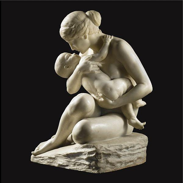 F. Saul , Italian circa 1900 Mother and child   Carrara marble