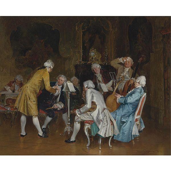 Johann Hamza , German 1850 - 1927 A difficult audition oil on canvas