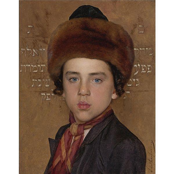 Isidor Kaufmann , Hungarian 1853 - 1921 Portrait of a boy oil on panel