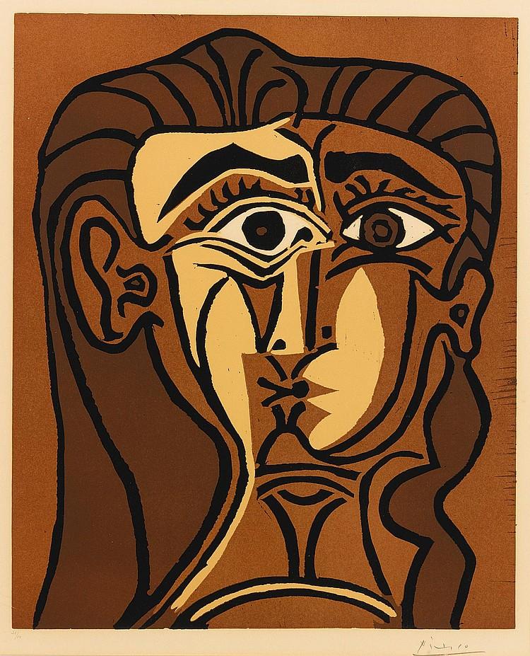 PABLO PICASSO | Portrait de Jacqueline de face. II (Tête de femme) (B. 1063; Ba. 1280)