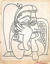 PABLO PICASSO | Portrait de Jacqueline accoudée (Femme accoudée) (B. 922; Ba. 1240)