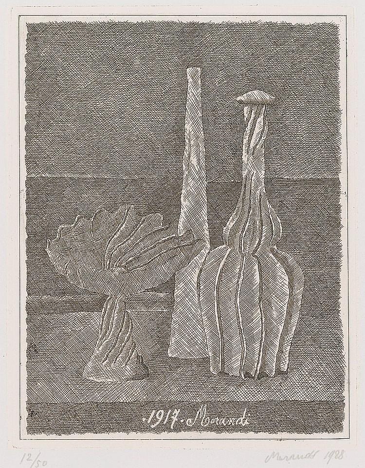 GIORGIO MORANDI | Natura morta con compostiera, bottiglia lunga e bottiglia scannellata(V. 50)